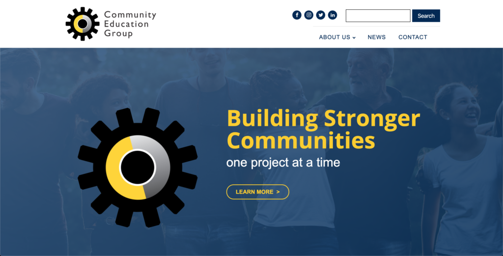 The Community Education Group's new homepage